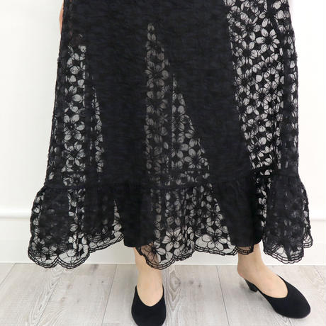 モダン花柄刺繍レース切替スカート(ブラック)
