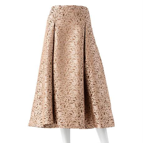 総柄コード刺繍 ジャガードフレアスカート(ブラウン)