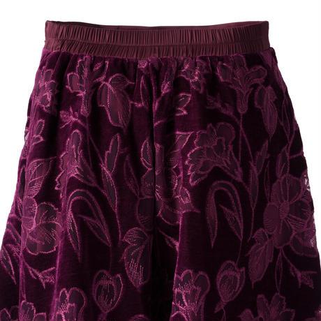 オパール刺繍ベロアロングスカート(パープル)