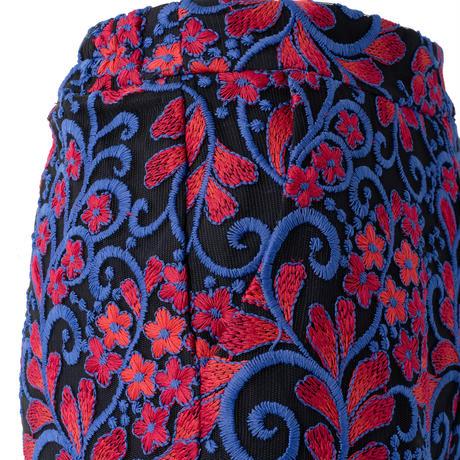 総柄刺繍レースストレートパンツ(ブルー)