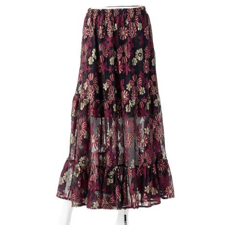 ティアードラメレースロングスカート