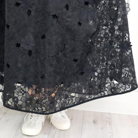 立体フラワー刺繍レーススカート(ブラック)