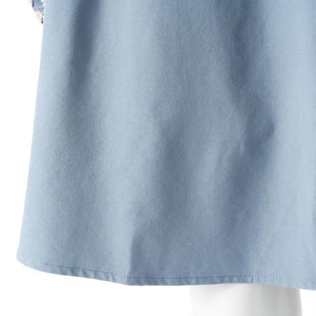 レース×ラメチュール フレアロングスカート(ブルー)