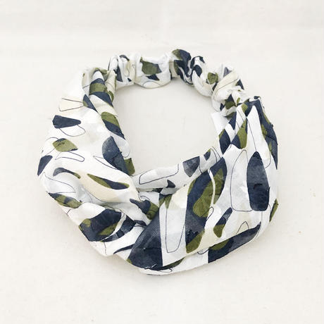 CROSS TURBAN /  Cotton White&Navy
