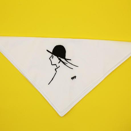 刺繍ハンカチ(M)「風とぼうしとつくしちゃん」
