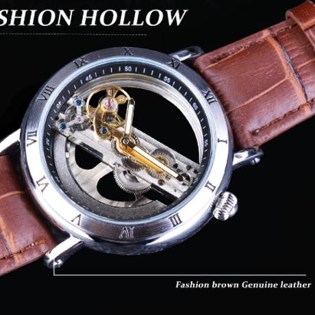 FORSINING メンズ腕時計 スケルトン 自動巻き 機械式 スチームパンク 本革ベルト 防水 発光 海外トップブランド 選べる4色