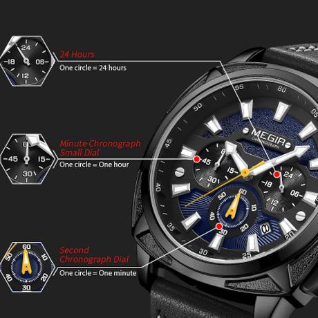 【MEGIR】 トップブランド メンズ腕時計 クロノグラフ 防水 レザーバンド 日付表示 クォーツ ルミナスハンズ 海外 丸みのある可愛いケース 【選べる3色】