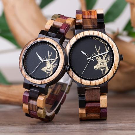 BOBO BIRD 木製腕時計 3気圧防水 カラフル木製バンド クォーツ ボボバード メンズ レディース 海外高級ブランド プレゼントにも