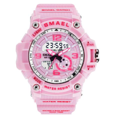 【可愛いくて超便利】 SMAEL レディース腕時計 50m防水 ミリタリー スポーツ クォーツ LEDデジタル クロノグラフ 日付表示 【1808】