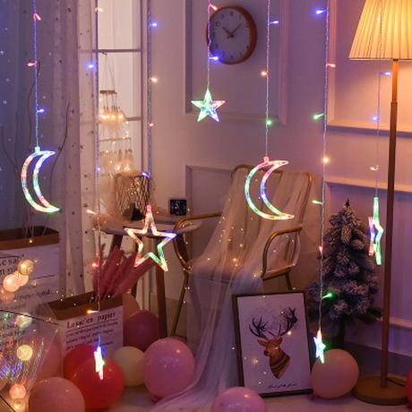 【ストリングライト】 クリスマス 星 月 リモコン付き イルミネーション 【LEDライト】