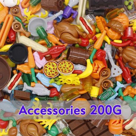 レゴ互換 アクセサリー セット パーツ 200g 食品 料理 フルーツ 野菜 チキン ピザ カニ ホットドック カラフル LEGO風 ブロックセット