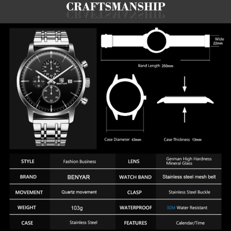 【海外高級ブランド】 BENYAR メンズウォッチ クロノグラフ 日付表示 クォーツ ビジネス 腕時計 3気圧防水 ステンレスバンド 【選べる2色】