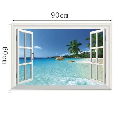 ウォールステッカー ビーチ 海 子供部屋インテリア 青色 空 木 3D 窓 壁紙シール キッズルーム 家具 防水 はがせる DIY 集中力を高める 選べる6種類