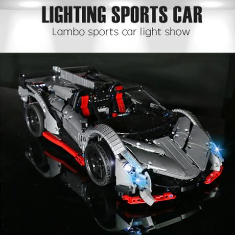 レゴテクニック ランボルギーニ スポーツカー モーター+コントローラー レゴ互換 車 ヴェネーノ・ロードスター ラジコン 動く 走る LEGO風 シルバーグレー