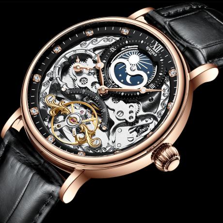 【海外ブランド】 KINYUED スケルトン 高級 メンズ腕時計 防水 トゥールビヨン ムーンフェイズ レザーバンド 自動巻き 機械式 【選べる3色】
