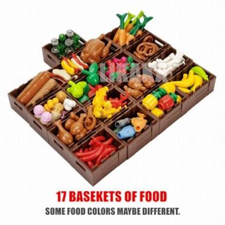 【レゴ互換】バスケット(籠)17個+食べ物セット フード パーツ【LEGO風】