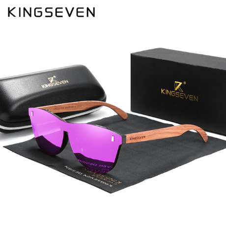 【KINGSEVEN】 天然木製サングラス メンズ ポラロイド 人体に優しい UV400 B-5510 軽量 偏光レンズ 海外トップブランド 高級 木の温もり 【選べる4色】