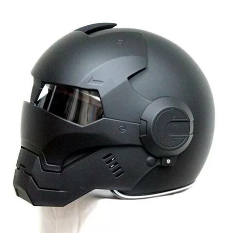 フルフェイス バイク ヘルメット アイアンマン タイプ 洗えるライナー マッドブラック 高品質 海外 アメコミ S~XXL 5サイズ展開