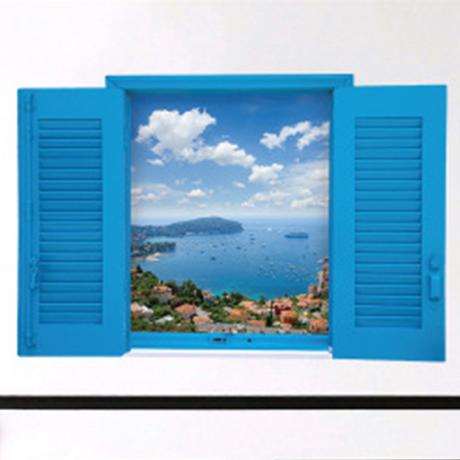 子供部屋インテリア(青色) ウォールステッカー 海 地中海 窓 壁紙シール キッズルーム 家具 防水 はがせる DIY 60×90cm