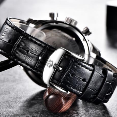 【BENYAR】 クロノグラフ メンズ腕時計 本革ベルト 防水 クォーツ 日付表示 高級 海外ブランド リッチなデザイン 【選べる3色】