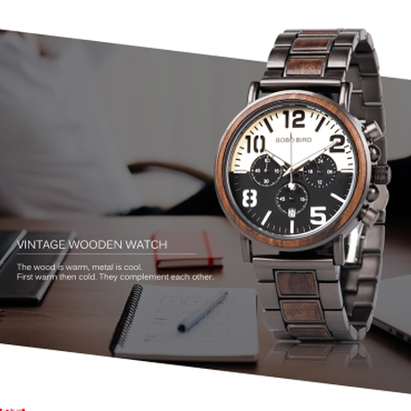BOBO BIRD 高級ブランド 海外 ボボバード 防水 木製腕時計 発光 メンズ カジュアル クロノグラフ ストップウォッチ機能付き クォーツ R25