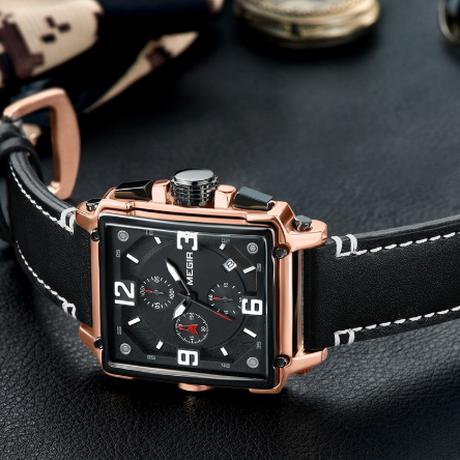【MEGIR】 四角 腕時計 メンズ ミリタリー クロノグラフ レザーバンド 3気圧防水 クォーツ 日付表示 ルミナスハンズ 海外トップブランド 高品質 選べる3色