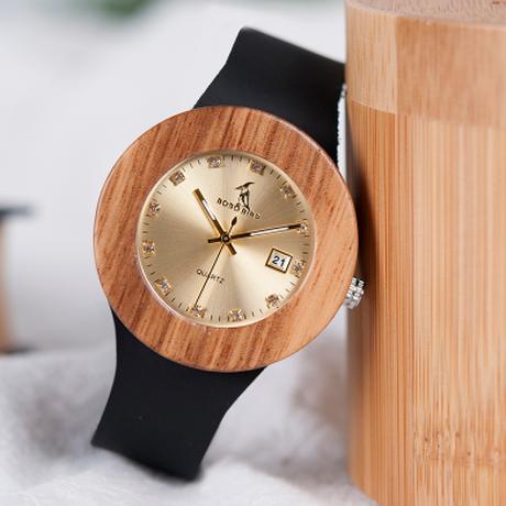 BOBO BIRD エレガント ゼブラウッド 本革ベルト レディース 木製腕時計 クォーツ 日付表示 上品なデザイン プレゼントにも