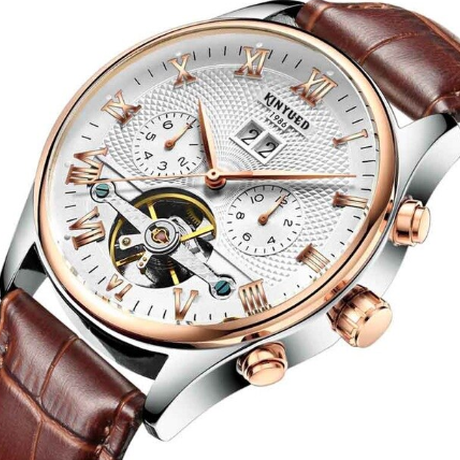 KINYUED 海外人気ブランド スケルトン メンズ 機械式腕時計 自動巻き 3気圧防水 日付表示 本革バンド