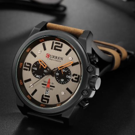 CURREN 3気圧防水 メンズ腕時計 多機能 本革ベルト クロノグラフ 日付表示 クォーツ スポーツウォッチ 海外高級ブランド おしゃれなデザインが大人気★