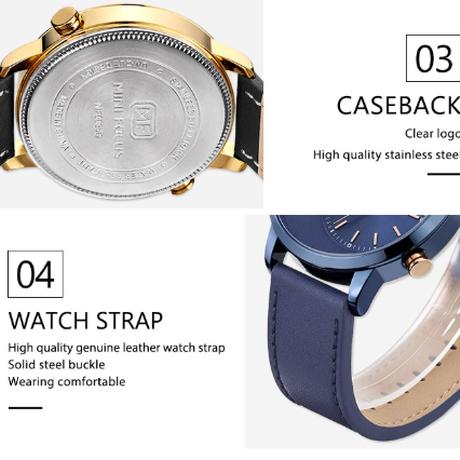 【海外高級ブランド】 MINIFOCUS デュアルタイム メンズ腕時計 本革バンド 3気圧防水 クォーツ ルミナスハンズ 個性的 【選べる3色】