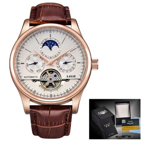 LIGE メンズ腕時計 機械式 自動巻き 防水 日付 曜日表示 レザーベルト レトロ 海外トップブランド 選べる4色