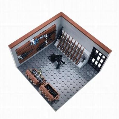 【レゴ互換】兵器庫 武器庫 アクセサリー+基礎板付き ミリタリー【LEGO風】