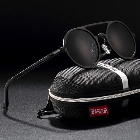 【海外高級ブランド】 BARCUR 丸型 メンズサングラス ラウンド ヴィンテージ UV400 運転用 ポラロイド デザイナー BC8053 【選べる3色】