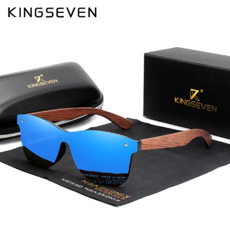 【天然木製フレーム】 KINGSEVEN B5504 メンズサングラス UV400 ブビンガ製 偏光レンズ ポラロイド 高級 海外トップブランド 【選べる4色】