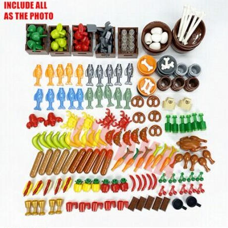 【レゴ互換】フードセット カゴ付き アクセサリー 食べ物 グレードアップ【LEGO風】