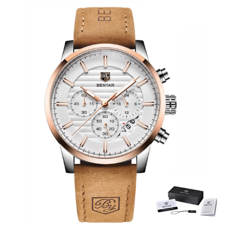 【BENYAR】 高級 腕時計 本革ベルト クロノグラフ メンズ 防水 クォーツ 日付表示 海外トップブランド ファッション 【選べる2色】