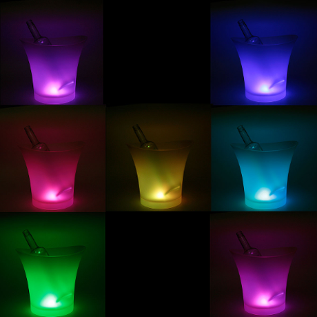 7色LED ワインクーラー 5L プラスチック アイスバケット シャンパン クラブ ホテル ご家庭でも