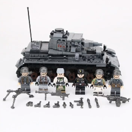 【ドイツ軍】 レゴ互換 4号戦車 陸軍 ミニフィグ6体+武器多数 ミディアムタンク ブロックセット WW2 第二次世界大戦 戦争 LEGO風 ミリタリー 【迫力満点でカッコいい】