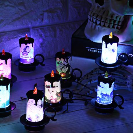 ハロウィン LEDキャンドルランプ ライト 装飾 テーブルデコレーション ボタン電池付き HALLOWEEN かわいい おしゃれ バー イベント クリスマス パーティーなどに 3個セット