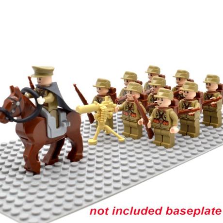 レゴ 日本軍 戦争 ミニフィグ10体+馬+機関銃+ライフル+バックパック 特殊部隊 レゴ互換品 軍隊 兵士 兵隊 第二次世界大戦 WW2 LEGO風