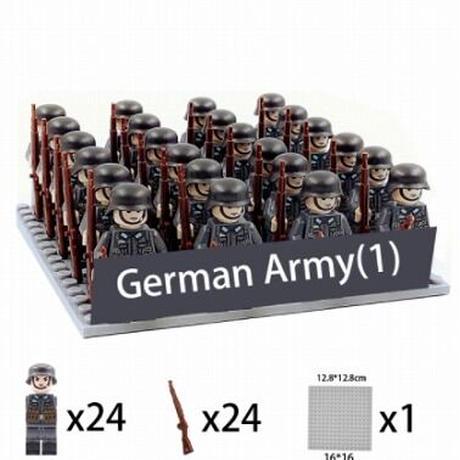 【レゴ互換】軍隊 ミニフィグ 24体セット ドイツ軍・日本軍・アメリカ軍・ソビエト軍【武器+基礎板付き】