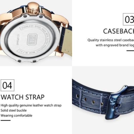 MINIFOCUS メンズ腕時計 防水 本革ベルト クォーツ 海外高級ブランド 人気 おしゃれ 選べる5色