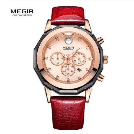 MEGIR 腕時計 レディース 日付表示 クロノグラフ 3気圧防水 発光 女性 革バンド ルミナスハンズ 3ATM クォーツ 2042 4色