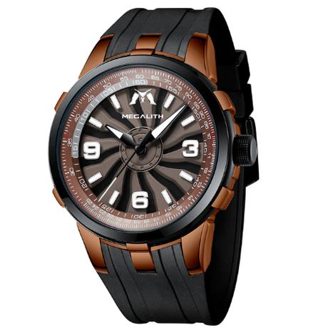 【文字盤の模様が回転】 MEGALITH メンズ腕時計 ユニーク ラバーバンド 防水 クォーツ 暗所で針が発光 ミリタリーウォッチ 【2色】