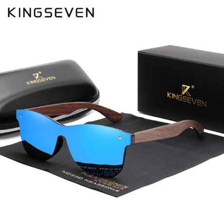 【人体に優しい】 KINGSEVEN 木製サングラス リムレス 天然くるみ UV400 縁なし ポラロイド W5504 軽量 海外トップブランド 高級 木の温もり 個性的 【選べる3色】