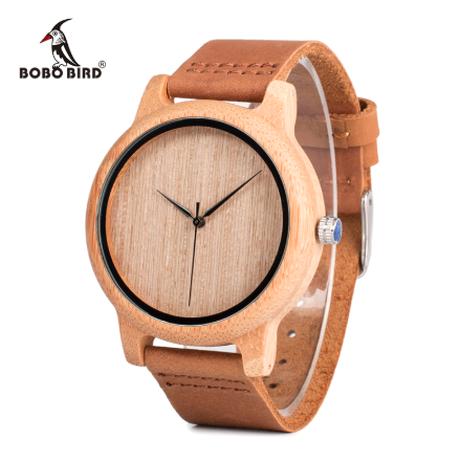 BOBO BIRD バンブーウォッチ 本革ベルト 竹製腕時計 ソフトレザーバンド クォーツ メンズ 温もりのあるシンプルなデザイン A19