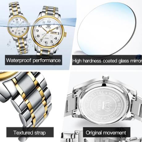 【OLEVS】時計 レディース 5567 フルステンレス製 クォーツ 日付表示【防水】