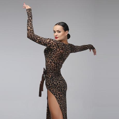 社交ダンスドレス ラテンドレス ヒョウ柄 ベルト付き サルサ タンゴ ラテンダンス レディース 衣装 ウェア