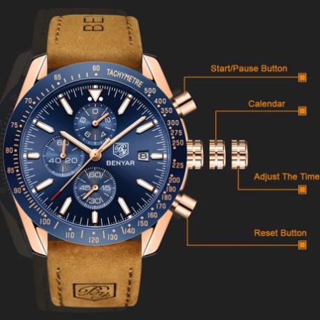 BENYAR メンズ腕時計 防水 本革ベルト センス抜群 人気モデル クロノグラフ 日付表示 クォーツ 多機能 海外高級ブランド 人気 選べる2色