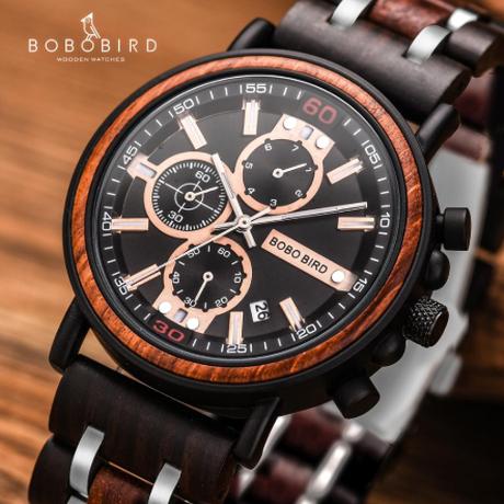 木製ギフトボックス付き ボボバード スタイリッシュ 3気圧防水 エレガント ミリタリー BOBO BIRD 木製腕時計 クロノグラフ 日付表示 クォーツ 発光 選べる3色 プレゼントにも★